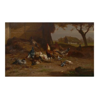 """""""Rooster and Hens"""" Antique Belgian Landscape Painting by Eugene Remy Maes For Sale"""