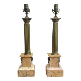 Pair of Bronze Column Lamps on Marble Bases For Sale
