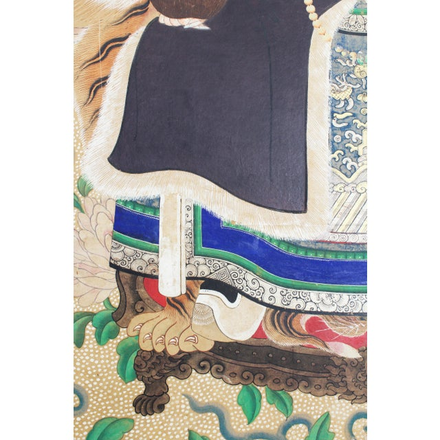 Late 19th Century Antique Chinese Ancestral Portrait Painting For Sale - Image 4 of 5