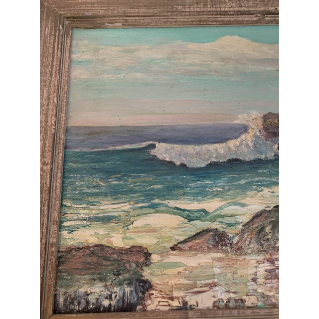 Blue 1960s Rocky Beach Seascape Oil Painting, Framed For Sale - Image 8 of 12