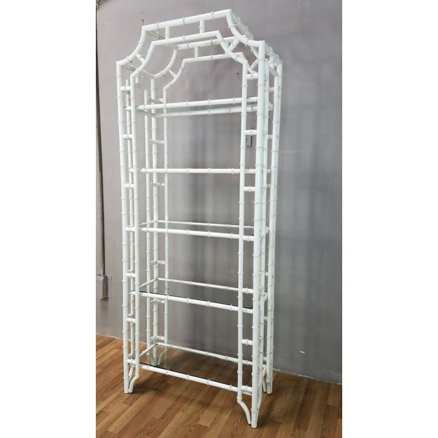 1950s Hollywood Regency White Metal Pagoda Faux Bamboo Etagere For Sale - Image 13 of 13