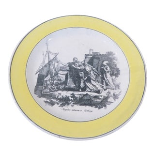 19th Century French Creil Yellow Rimmed Faience Plate For Sale