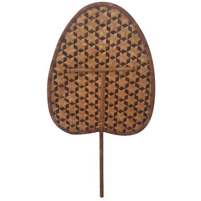 Vintage Bamboo Woven Reed Fan For Sale