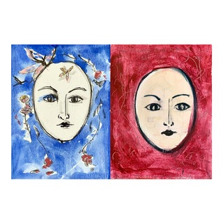 Two Faces in Blue and Red; Blue Butterfly and Red Heart. For Sale