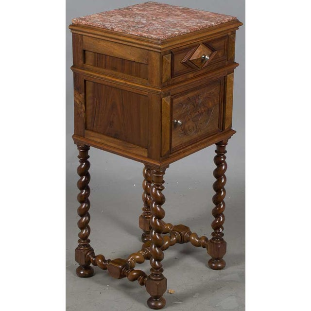 1900 - 1909 1900s French Marble Topped Walnut Pot Cupboard For Sale - Image 5 of 13