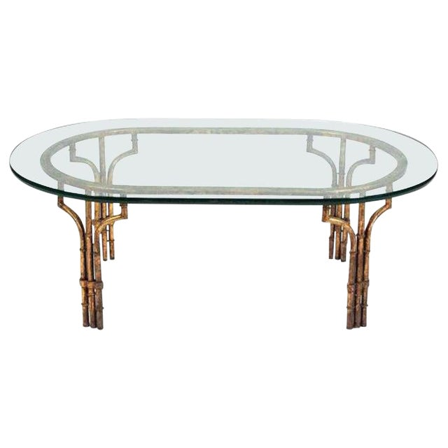 Midcentury Italian Gilt Metal Faux- Bamboo Glass Top Coffee Table For Sale