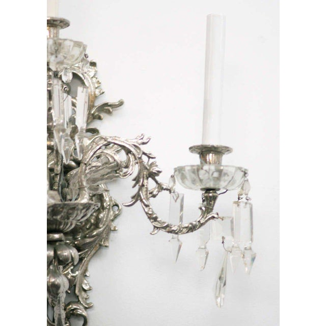 19th Century Nickel-Plated Bronze Rococo Dragon Wall Sconce Set of Four - Image 2 of 8