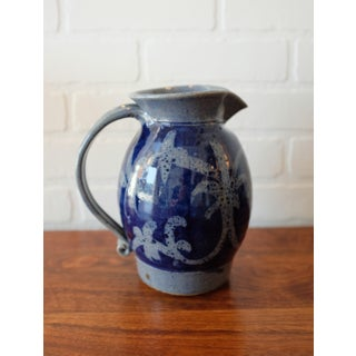 Hand Painted Blue Studio Pottery Stoneware Pitcher Preview
