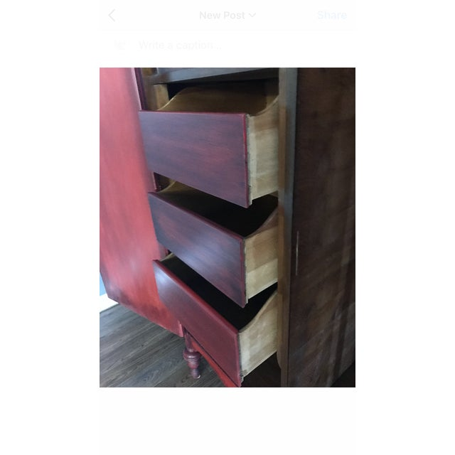 French Country Red Armoire - Image 9 of 10