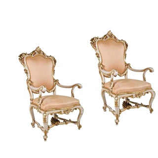 Vintage Cream & Pink Venetian Chairs - A Pair