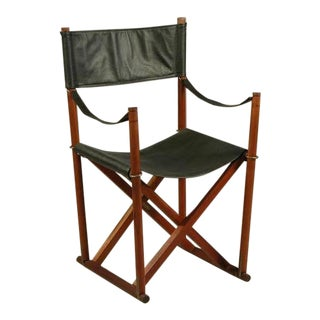 Rud Rasmussen Mogens Koch Mk-16 Safari Teak, Brass and Black Leather Folding Chair