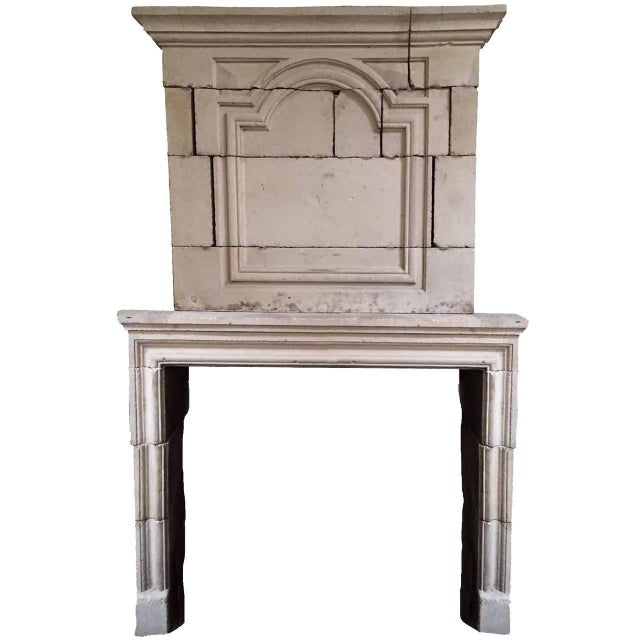 Late 19th Century Louis XIV Limestone Mantel with Trumeau, circa 1810 For Sale - Image 5 of 5