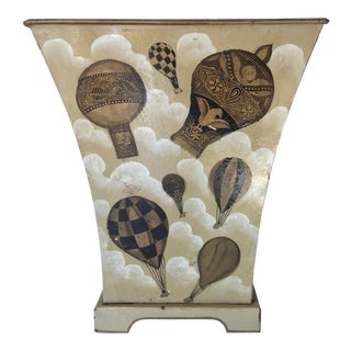 Vintage Fornasetti Tole Wastebasket-Hot Air Balloons For Sale