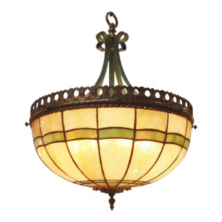 20th C. Stained Glass Dome Light Fixture