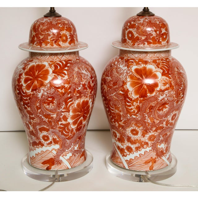 Orange and White Ceramic Lamps - A Pair For Sale - Image 9 of 13