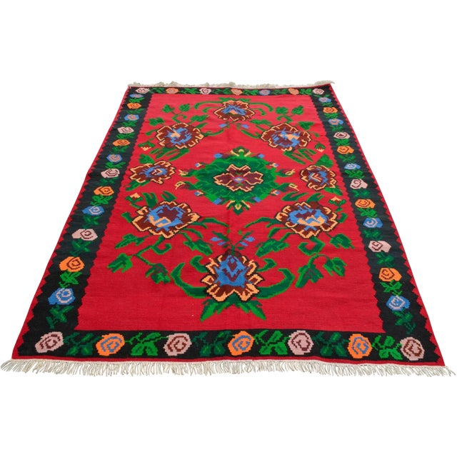 Turkish Hand-Woven Wool Kilim Rug - 5′3″ × 7′5″ - Image 1 of 8