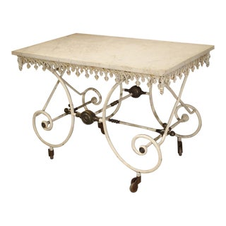 19th Century French Iron Pastry or Butchers Display Table With Carrara Marble Top For Sale