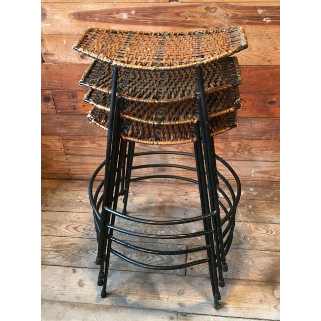 Mid-Century Modern Arthur Umanoff Wrought Iron & Wicker Counter Height Bar Stools - Set of 4 For Sale - Image 3 of 11