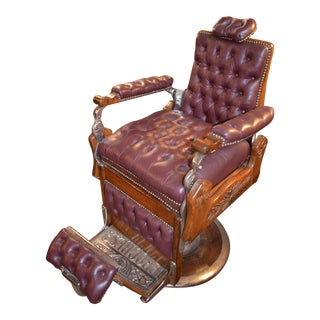 Antique Victorian Burgundy Tufted Leather Barber Chair For Sale