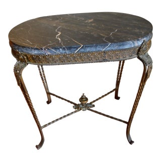 Louis XV Style Wrought Iron Garden Oval Side Table With Thick Marble Top. For Sale
