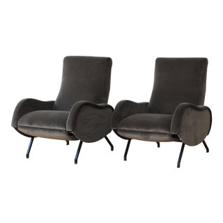 Marco Zanuso Reclining Lounge Chairs, Italy, 1960s. - a Pair For Sale