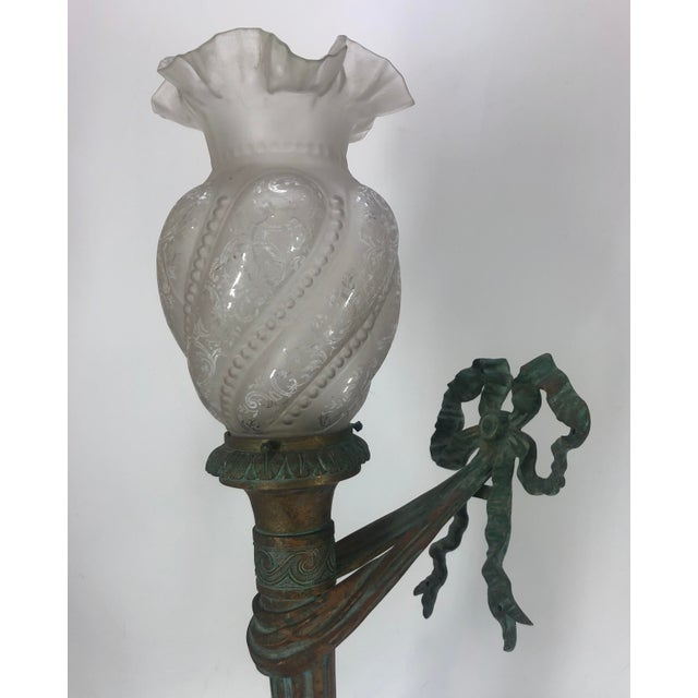 Art Deco Bronze Sconce Wall Light Antique For Sale - Image 3 of 11