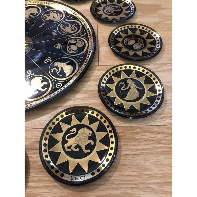 Mid-Century Modern Vintage Mid Century Modern Astrological Glass Tray & Plates For Sale - Image 3 of 7