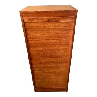 Danish Teak Tall Tambour Door File Cabinet For Sale