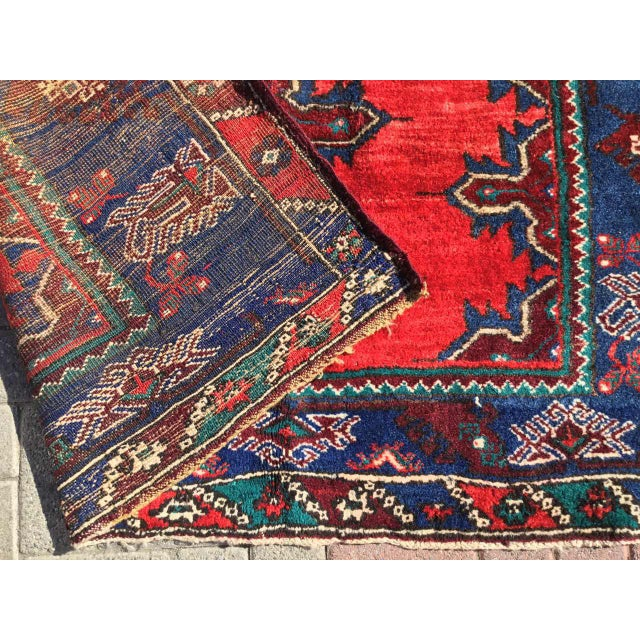 Blue Red & Navy Vintage Hand Knotted Turkish Rug For Sale - Image 8 of 9