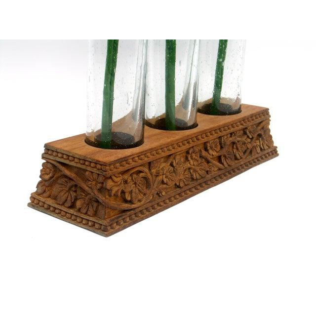 boho blown glass carved wood flower vase chairish