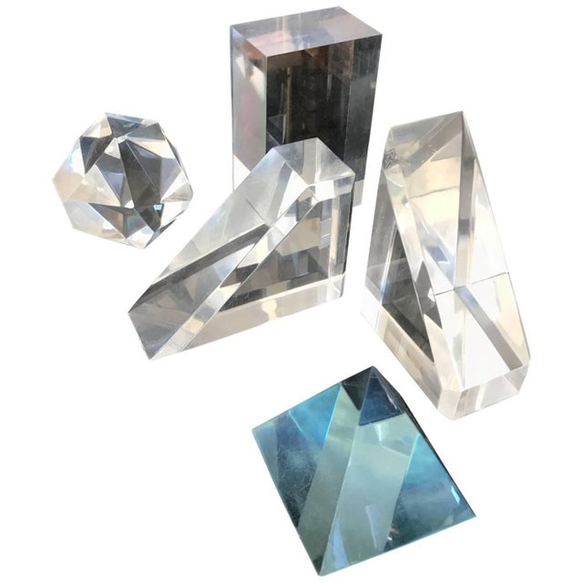 Set of Five Lucite Decorative Geometric Sculptures For Sale - Image 11 of 11