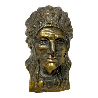 Vintage Bronze Native American Indian Warrior Chief Statue For Sale