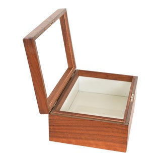 Mid-Century Modern Walnut With Copper Ornamentation Box For Sale