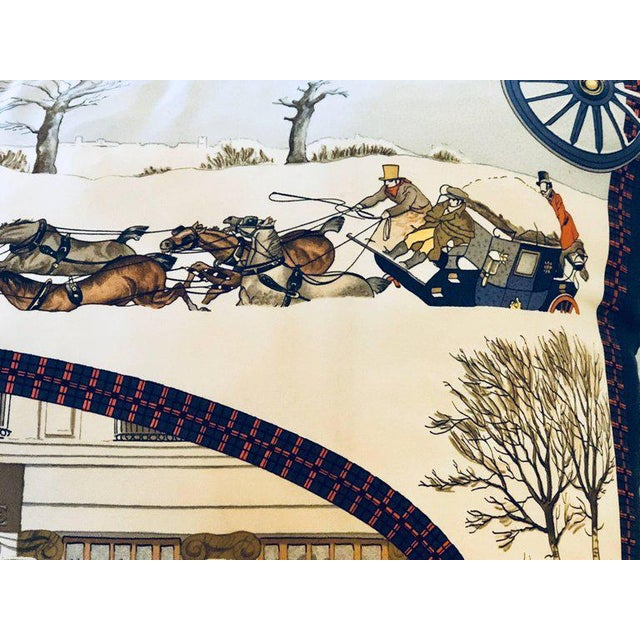 Blue Hollywood Regency Style Hermes 'The Bull and Mouth Regents Circus' Silk Pillow For Sale - Image 8 of 12