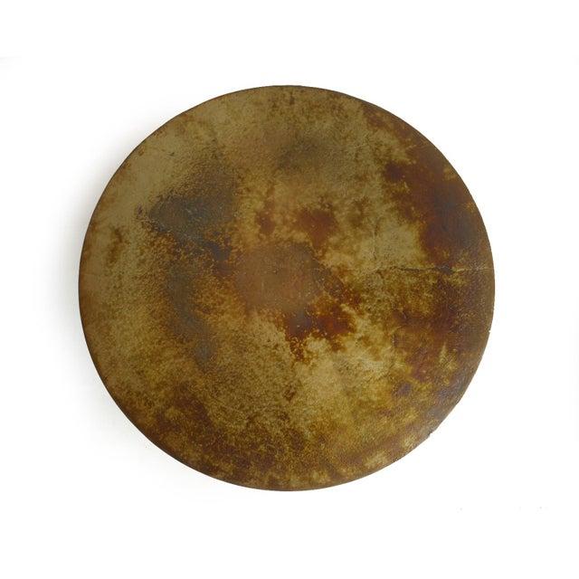 Industrial Brass Pedestal Side Table For Sale - Image 3 of 4