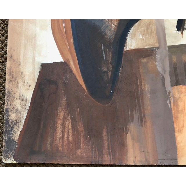 Oil Paint Vintage 1960s Abstract Cubist Shapes Oil Painting For Sale - Image 7 of 10