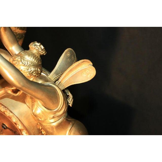 19th Century French Empire Gilt Dore Bronze Figural Amour & Psyche Mantel Clock For Sale In Philadelphia - Image 6 of 7