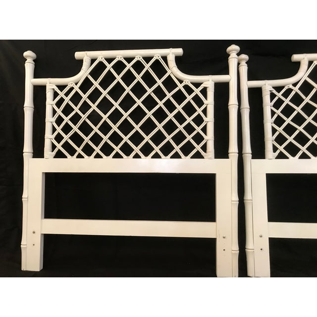 1970s Ficks Reed Twin or King Faux Bamboo Hollywood Regency Pagoda Headboards - a Pair For Sale - Image 12 of 13