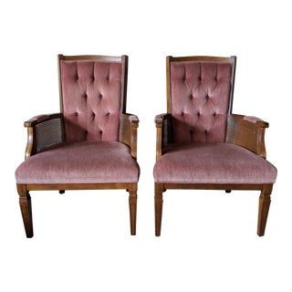 Pair of Mid-Century Walnut and Pink Tufted Side Armchairs For Sale