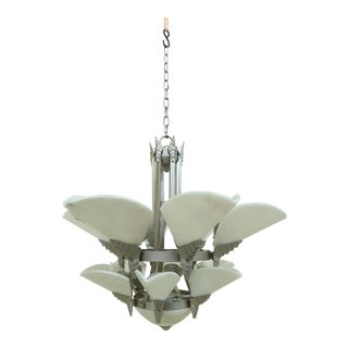 High Quality Art Deco Style Chandelier W. Alabaster Shade For Sale