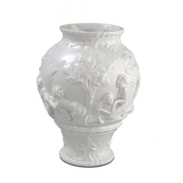 Italian White Capodimonte Italian Porcelain Urn For Sale - Image 3 of 10