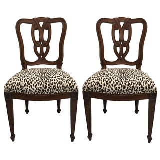 Pair of Hollywood Regency Leopard Side Chairs For Sale