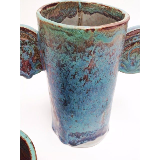 Organic Sculptural Turquoise Pottery Vases - a Pair For Sale - Image 4 of 7