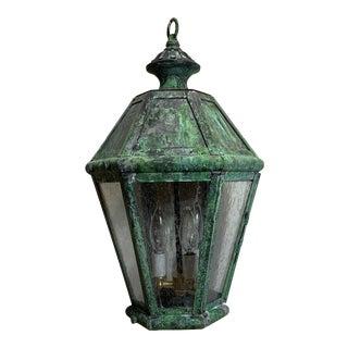 Verdigris Solid Brass Hanging Lantern For Sale