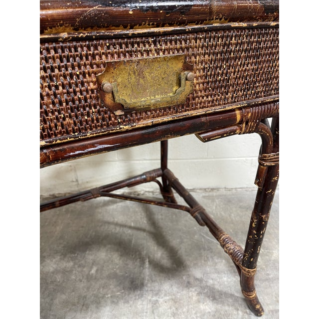Wicker Vintage Bamboo Writing Desk For Sale - Image 7 of 12