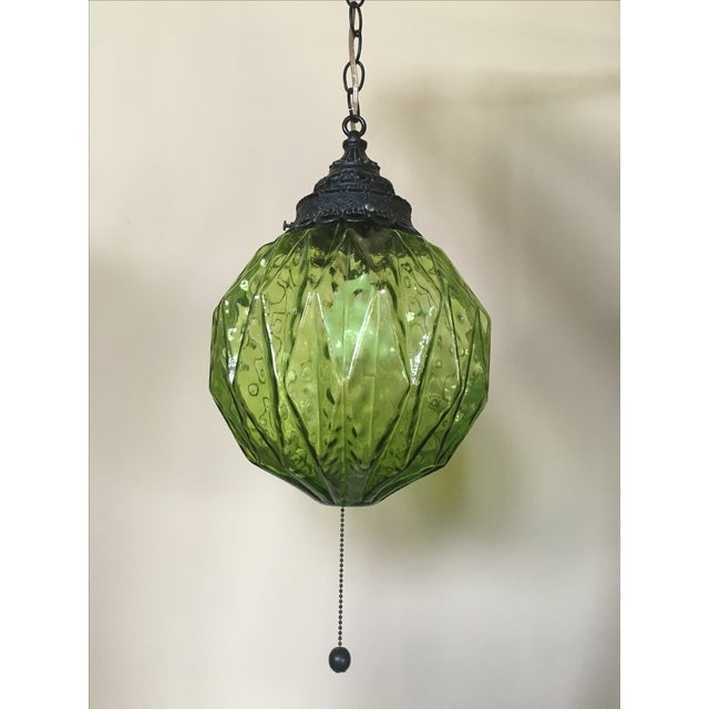 Mid-Century Green Glass Hanging Swag Lamp - Image 2 of 7