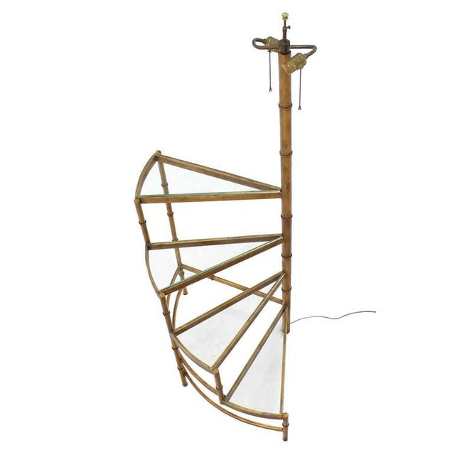 Step Shelves Faux Bamboo Gilt Base Floor Lamp For Sale In New York - Image 6 of 9