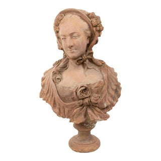 French Victorian Terra Cotta Lady Bust For Sale