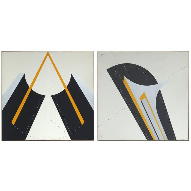 Italian 1970s Metaphysical Oils by Sauro Lessio - A Pair For Sale - Image 10 of 11