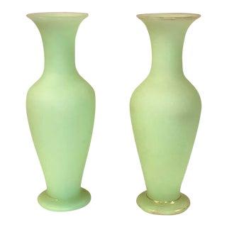 Vintage Seafoam Opaline Glass Vases - a Pair For Sale